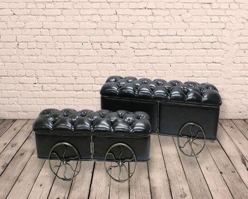 Set of 2 Industrial Metal and PU Storage Stools
